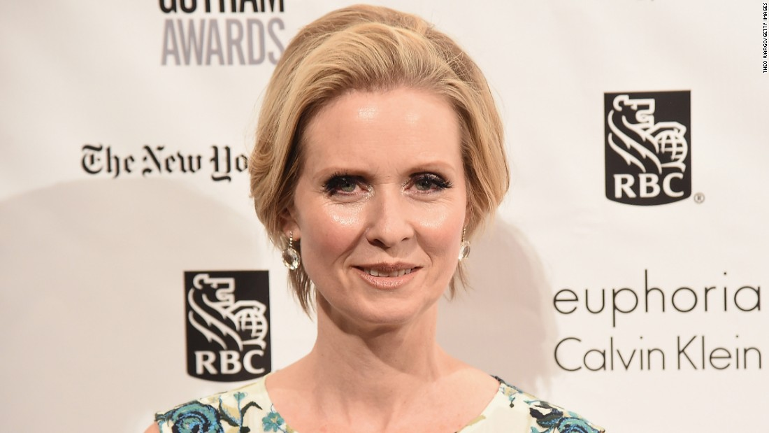 "Cynthia Nixon of ""Sex and the City"" celebrated on April 9."