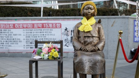 "The Japanese government requested South Korea remove this statue symbolizing ""comfort women"" which currently sits in front of the Japanese Embassy in Seoul, South Korea."