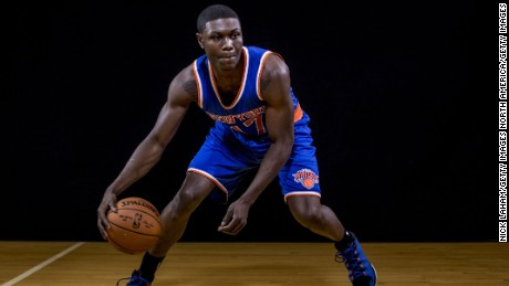 TARRYTOWN, NY - AUGUST 03: Cleanthony Early #17 of the New York Knicks poses for a portrait during the 2014 NBA rookie photo shoot at MSG Training Center on August 3, 2014 in Tarrytown, New York. NOTE TO USER: User expressly acknowledges and agrees that, by downloading and or using this photograph, User is consenting to the terms and conditions of the Getty Images License Agreement. (Photo by Nick Laham/Getty Images)