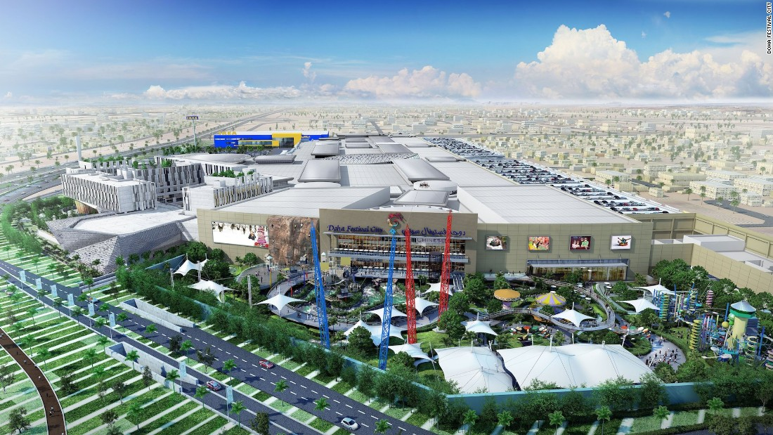 Doha Festival City will feature 550 shops, 100 cafes and restaurants, a hotel and convention center and two entertainment zones. There's also an outdoor amusement park and indoor snow park for skiing and sledding. It's scheduled to open in September 2016.