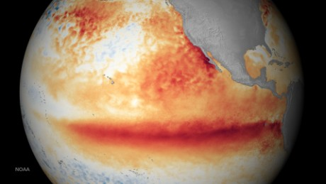 Sea surface temperatures in October -- orange-red colors are above normal.