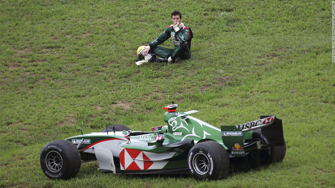 Jaguar's F1 foray ends with retirement for driver Mark Webber at the 2004 Brazilian Grand Prix. Webber would stay with the team as it was sold to energy drinks giants Red Bull for the following season.