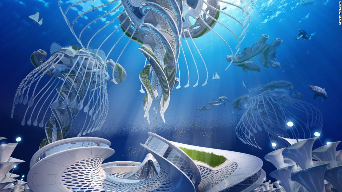 "The Aequorea project, still in research and development stage, imagines entirely self-sufficient, spiraling ""oceanscrapers."""