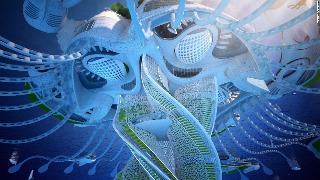 The self-sufficient 'oceanscraper,' constructed using recycled plastics, can host up to 20,000 people in the future.