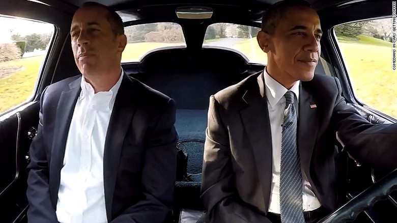 Obama and Seinfeld share a Corvette, conversation