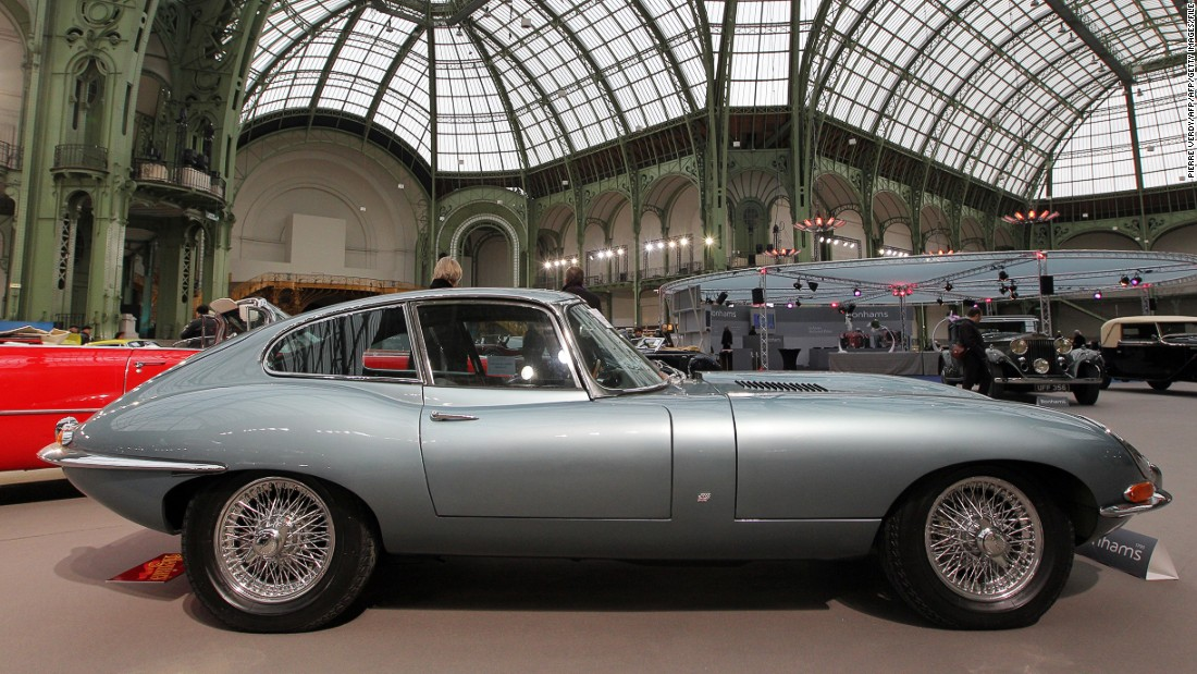 An Jaguar E-type 1964 shown at Bonhams auction house, Paris in 2011 -- the year the car celebrated it's 50th anniversary. The model is routinely voted one of the most beautiful cars of all time.