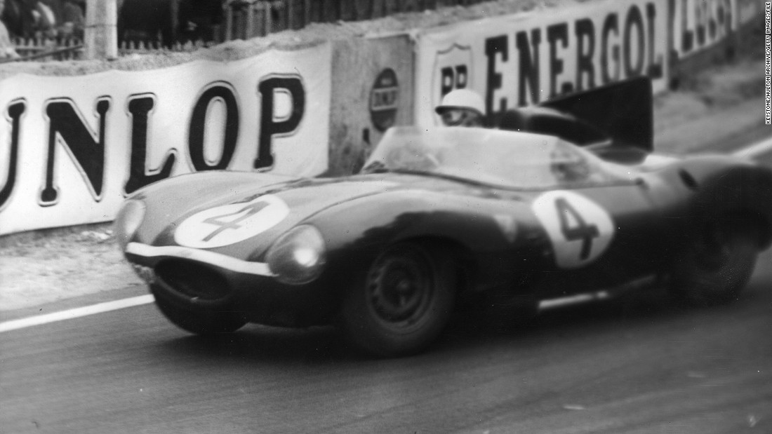 Britain's Ninian Sanderson and Ron Flockhart drive a Jaguar D-type to victory in the Le Mans 24-hour classic in 1956.