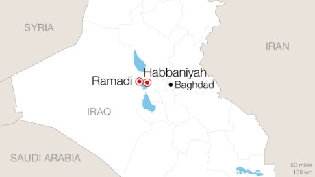 Hundreds of families have fled fighting in Ramadi for a camp 25 miles east.