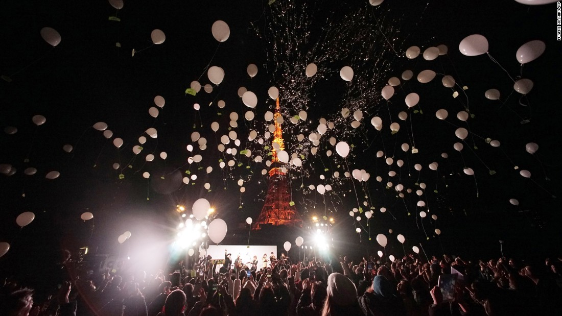Balloons are released to celebrate the new year in Tokyo.