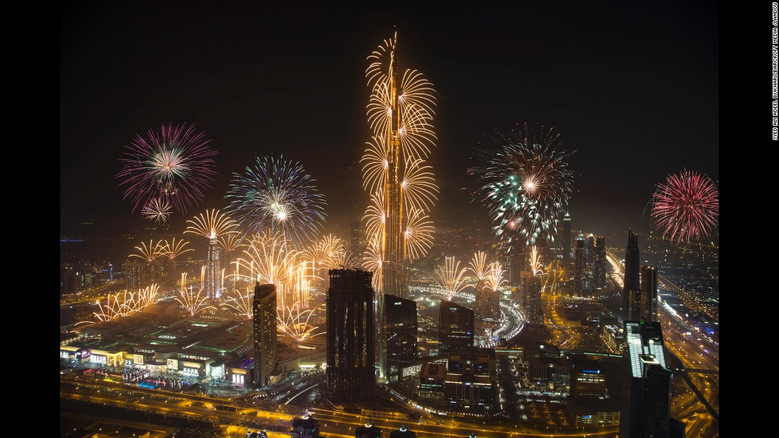 Fireworks mark the beginning of the new year in Dubai, United Arab Emirates.