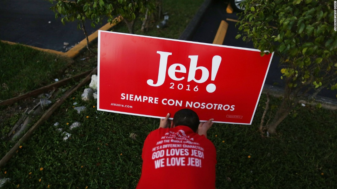 Marlon Motero puts up campaign signs for Republican presidential candidate Jeb Bush before a meet-and-greet event in Hialeah, Florida, on Monday, December 28.