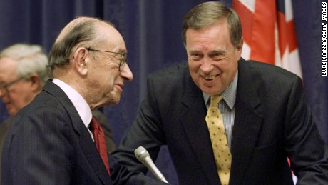 U,S. Federal Reserve Chairman Alan Greenspan (L) chats with then House Financial Services Committee Chairman Michael Oxley (R), R-OH, before testifying in front of that committee 28 February, 2001 on Capitol Hill in Washington, DC.