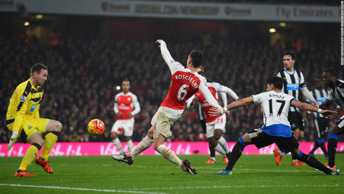 The French defender guided fellow countryman, Olivier Giroud's, flick-on past Newcastle goalkeeper, Rob Elliot, to give Arsenal a valuable 1-0 victory.