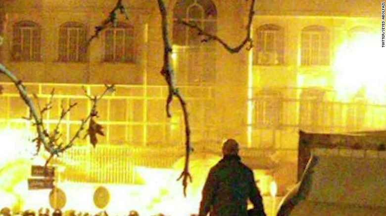 Fiery protests erupt at Saudi embassy in Tehran