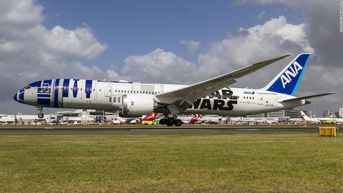 "Japan's largest airline made a splash in 2015 when it decorated some of its passenger jets with ""Star Wars"" imagery, including this R2-D2-themed aircraft."