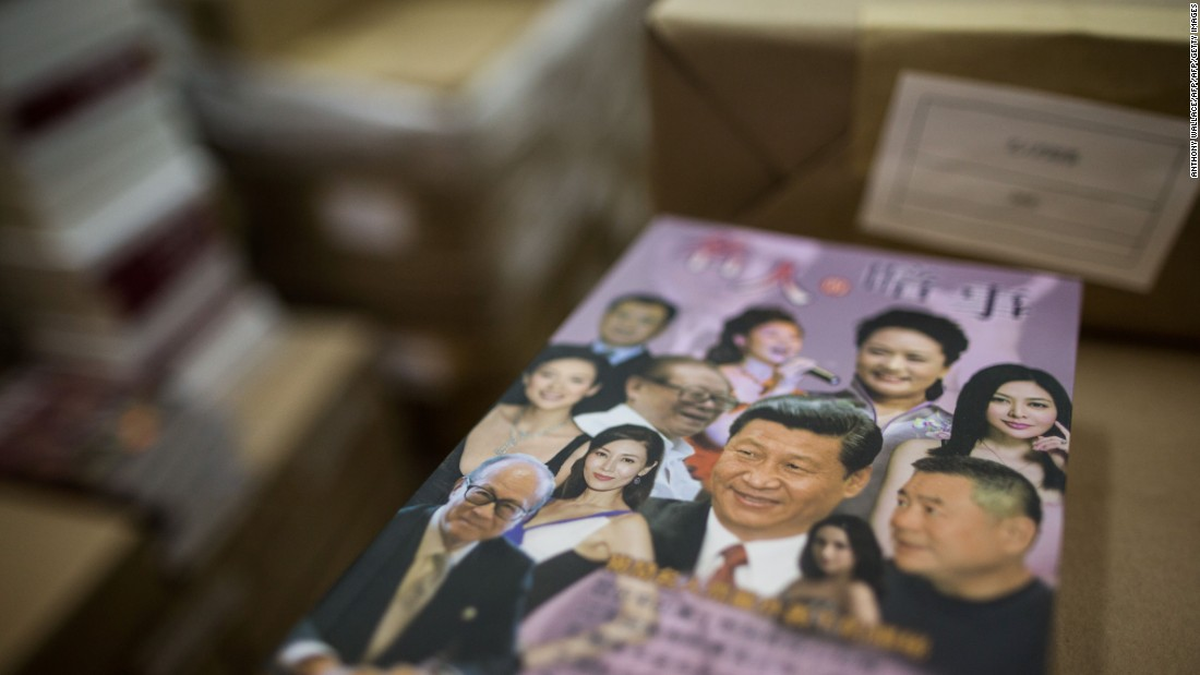 "A book featuring the Chinese President Xi Jinping sits in the the warehouse of Hong Kong-based publisher Mighty Current in Hong Kong on January 2, 2016. Many of these ""banned books"" depict purported salacious details of private lives of Chinese leaders, as suggested by this cover."