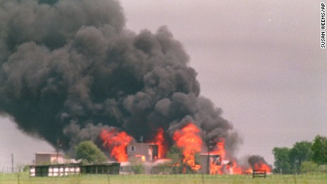 Flames engulf the Branch Davidian compound in Waco, Texas, on April 19, 1993.