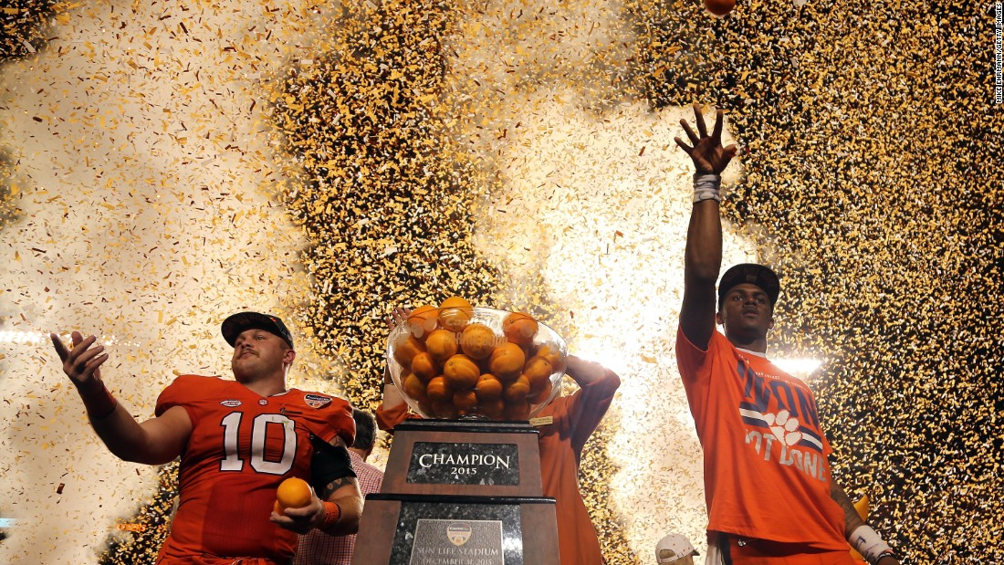 Ben Boulware, left, and Deshaun Watson celebrate after Clemson's football team won the Orange Bowl on Thursday, December 31. The Tigers defeated Oklahoma 37-17 in what was a semifinal of the College Football Playoff. They will play Alabama in the national championship game on Monday, January 11.