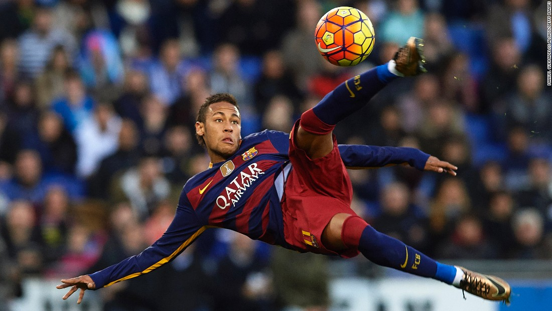 Neymar, one of the stars of FC Barcelona, concentrates on the ball during a league match against city rivals Espanyol on Saturday, January 2. The two Spanish clubs tied 0-0.