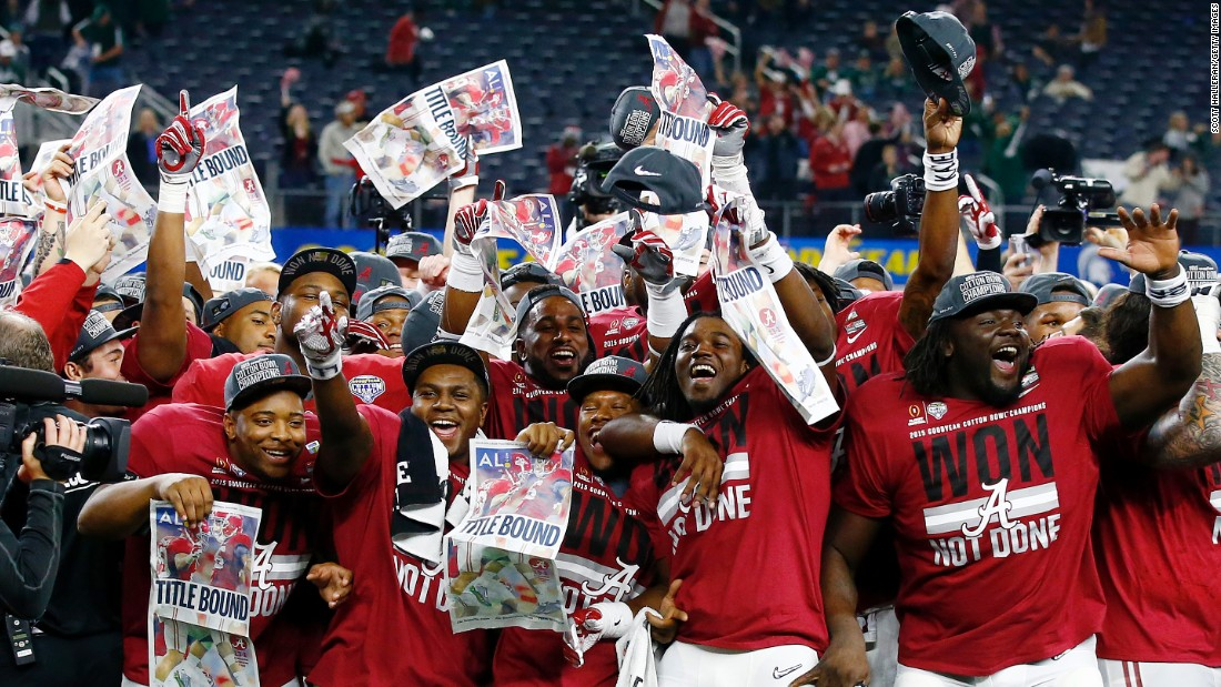 Alabama football players celebrate after they shut out Michigan State 38-0 in the Cotton Bowl on Thursday, December 31.
