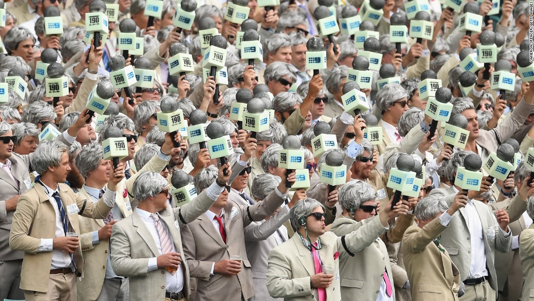 Cricket spectators pay tribute to late commentator Richie Benaud as they watch Australia play the West Indies in Sydney on Monday, January 4. Benaud, who also played cricket for Australia, died in March at the age of 84.