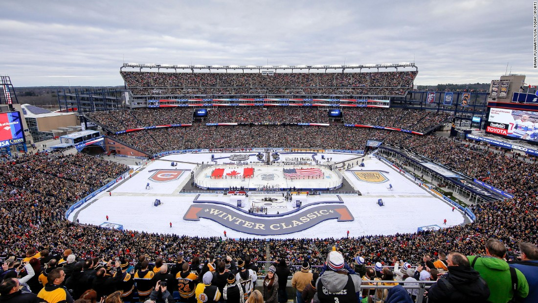 Gillette Stadium, home of the NFL's New England Patriots, hosted the annual Winter Classic hockey game on Friday, January 1. Montreal defeated Boston 5-1.