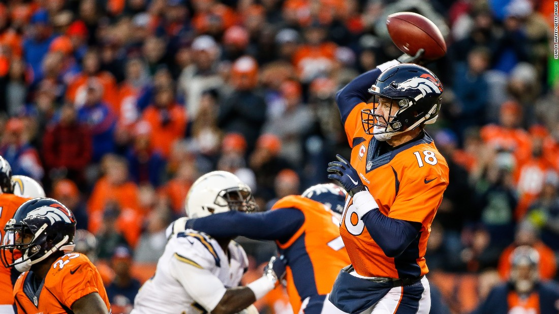 Denver quarterback Peyton Manning prepares to fire off a pass during an NFL game against San Diego on Sunday, January 3. Manning was playing in his first game since November. He had been injured.