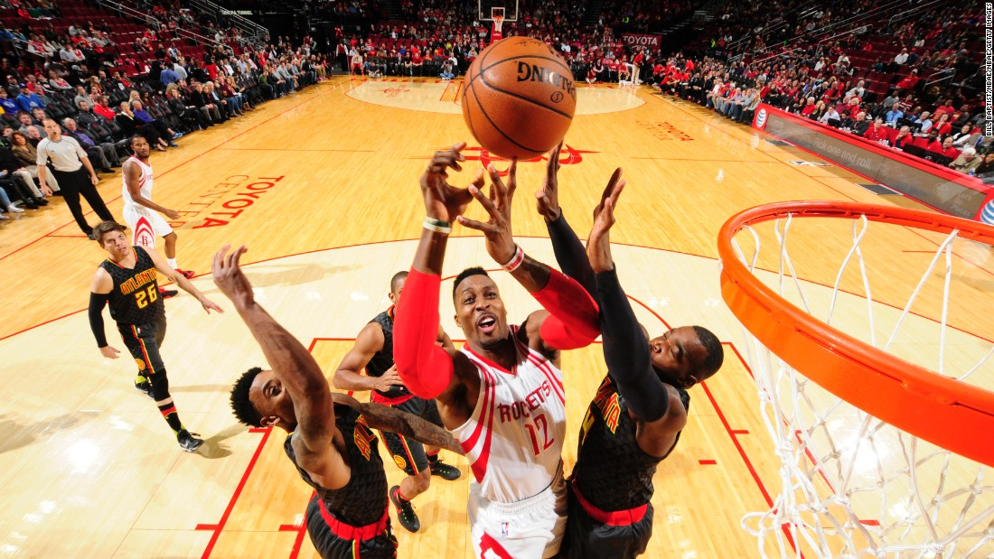 Houston center Dwight Howard gets off a shot during a home game against Atlanta on Tuesday, December 29.