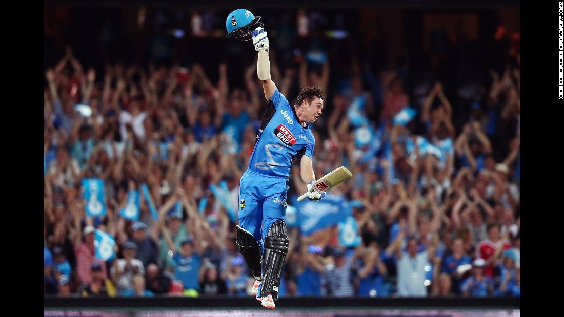 Adelaide's Travis Head celebrates after hitting the winning runs against the Sydney Sixers on Thursday, December 31. Head scored a century in the Big Bash League match.