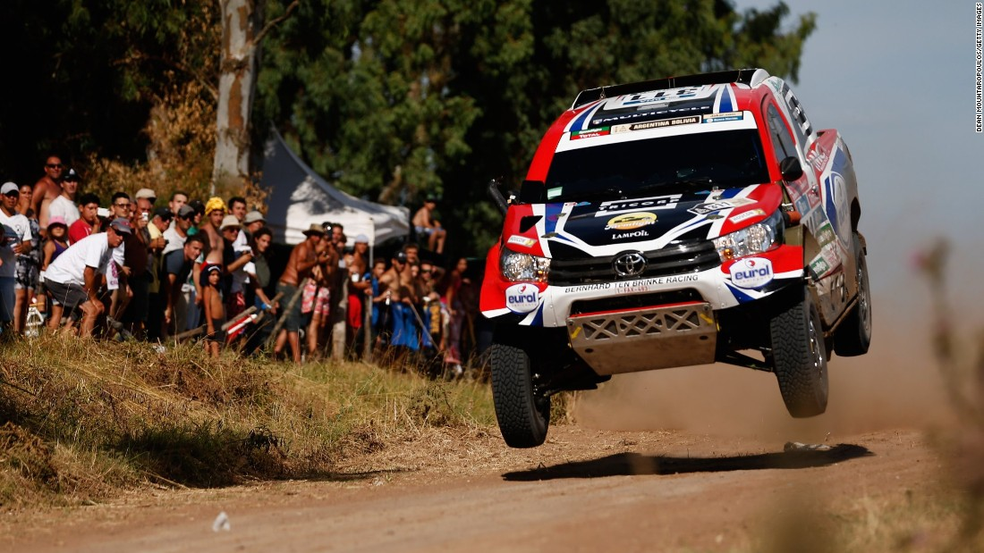 The rally car of Bernhard ten Brinke and Tom Colsoul catches some air Saturday, January 2, during the Dakar Rally prologue in Argentina.