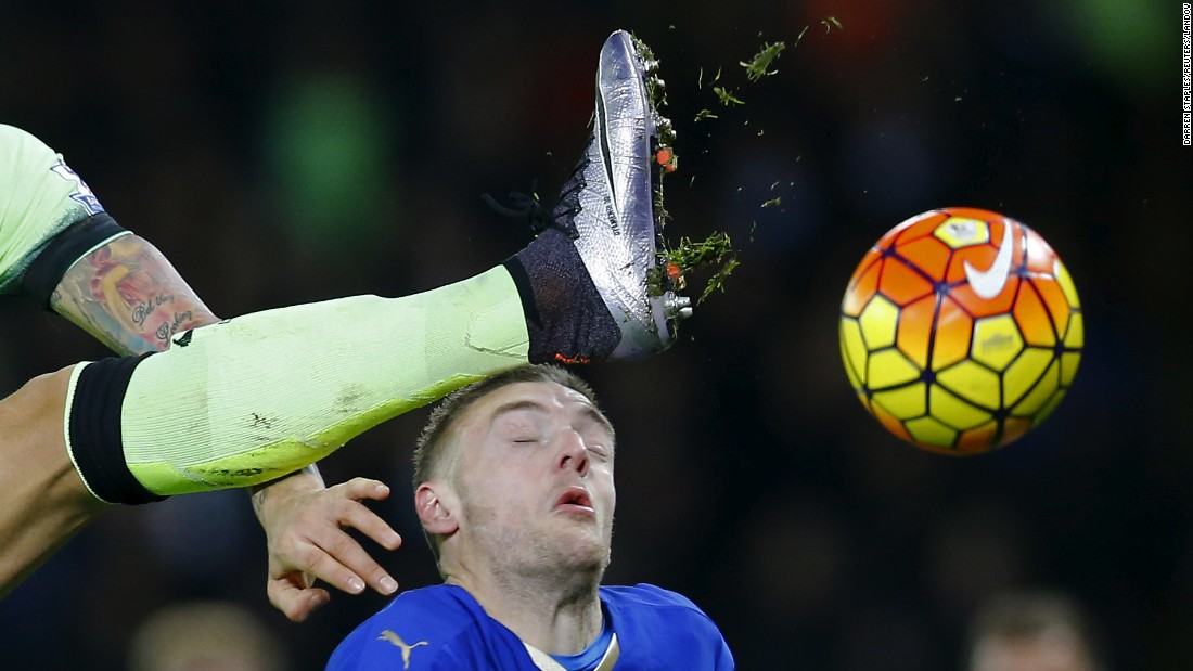 The boot of Manchester City's Nicolas Otamendi is seen near the head of Leicester City striker Jamie Vardy during a Premier League match in Leicester, England, on Tuesday, December 29.