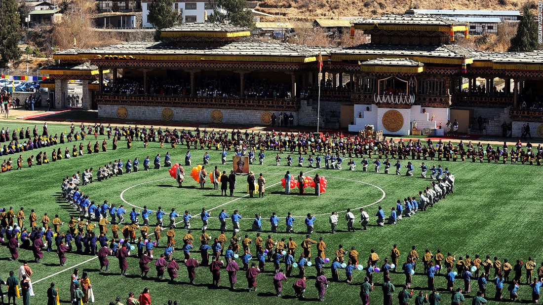 The Changlimithang national stadium in Thimpu has hosted international games such as World Cup qualifiers and celebrations like this 2014 party celebrating the king's 34th birthday.