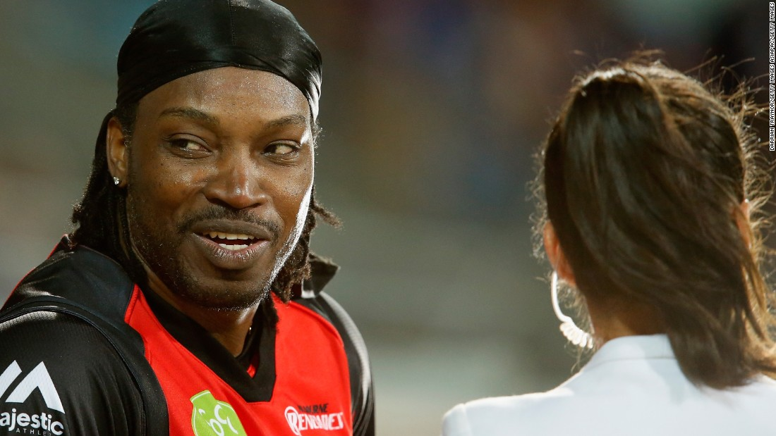 "Chris Gayle has apologized for comments he made during a live television interview in Australia. The former West Indies cricket captain said to journalist Mel McLaughlin ""I hope we can have a drink after. Don't blush baby."" He has since been fined $7,100 for inappropriate conduct by his club, the Melbourne Renegades, with plays in Australia's Big Bash League."