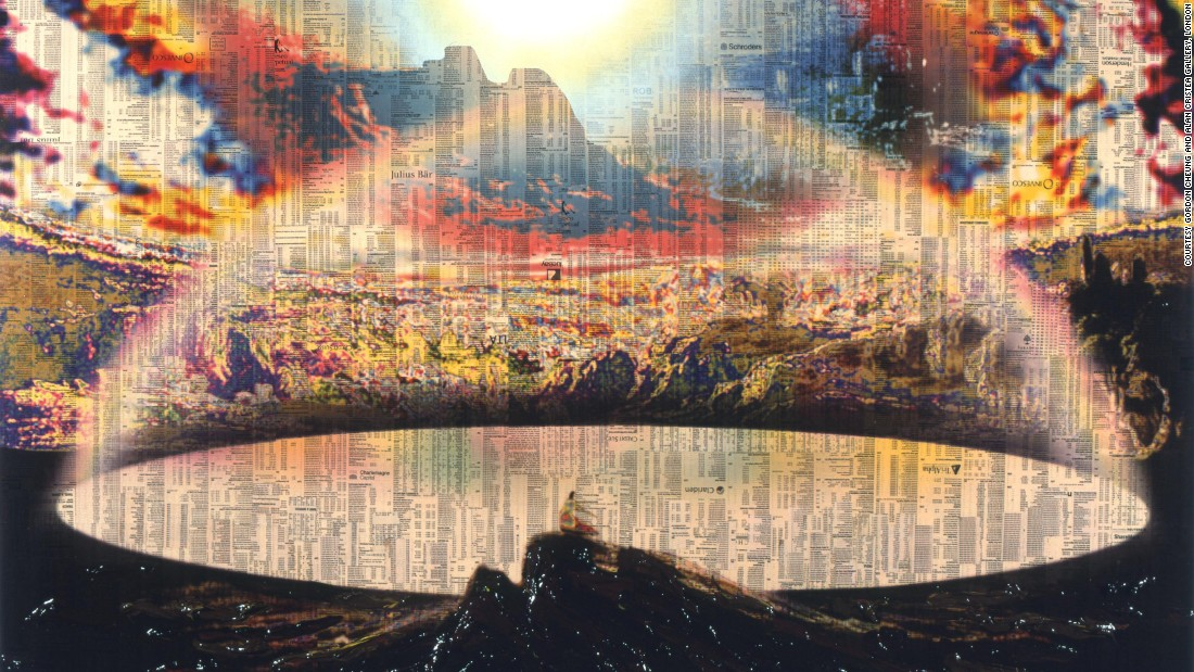 "Cheung is a contemporary British-Chinese artist, here taking John Martin as his starting point, but adding computing technology and a critique of contemporary capitalism to his visualization of the New Jerusalem. We see the towers of the modern city evoked by skyscraper montages of pages from the Financial Times as fire burns in the background. While in the foreground, a John-like figure stands on a rocky outcrop above ""Rivers of Bliss"", also fashioned out of stock market reports from the financial pages. Although the scene at the foreground of the image is peaceful, this is a rather lonely image of Paradise, and the overall message is somewhat ambiguous, unlike the images of John Martin from which Cheung has drawn inspiration."