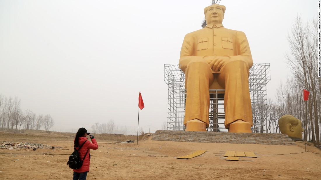 A huge statue of Chairman Mao Zedong, reportedly 36.6 meters high, is under construction near Zhushigang village on January 4, 2016 in Tongxu County, China.