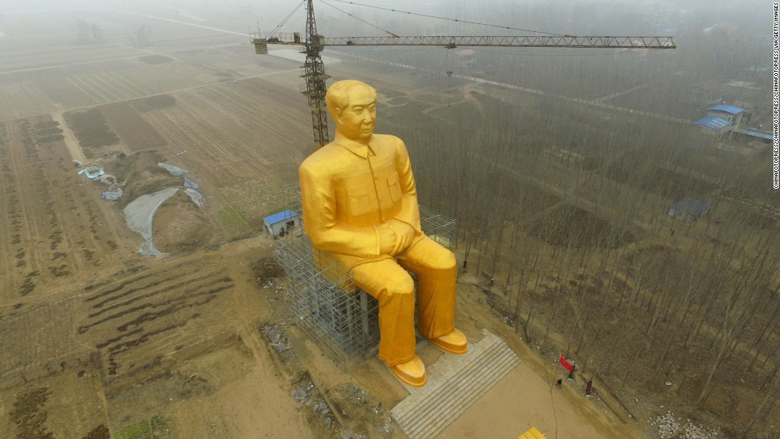 china giant gold mao statue torn down cnn cnn travel