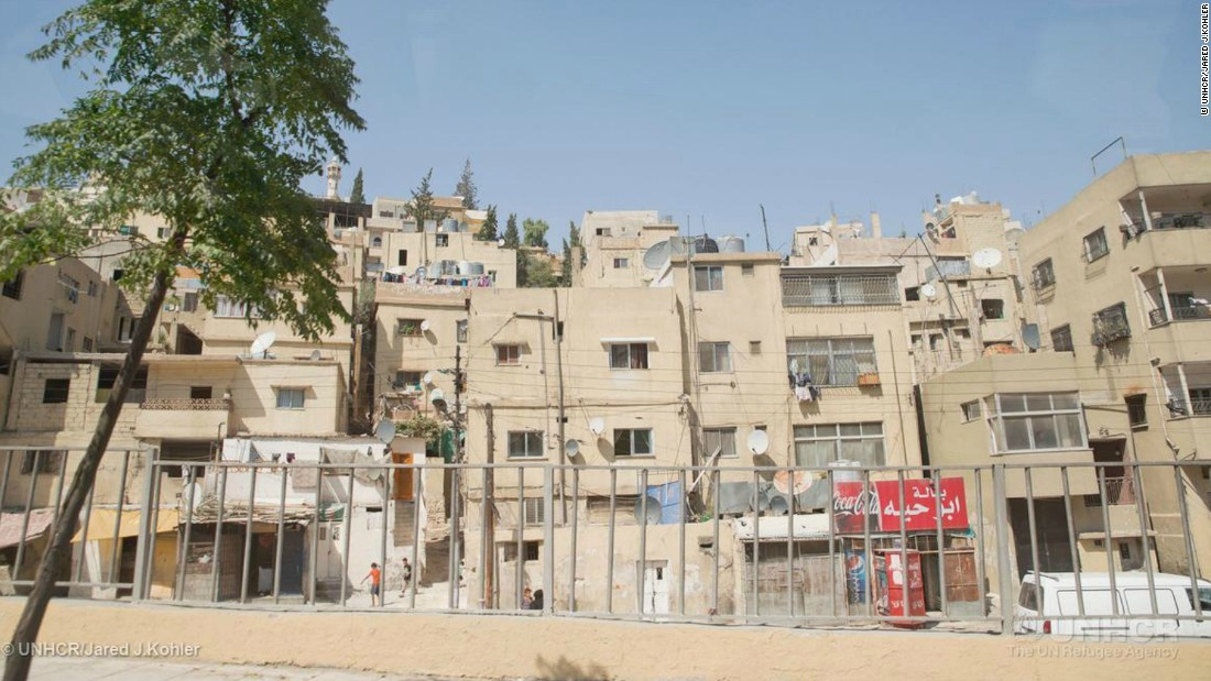 An increasing number of refugees are now living in cities rather than official camps. Cities bring  greater economic opportunities but often poor living conditions. Approximately 75% of Jordan's refugee population live in urban settings such as Amman (pictured).