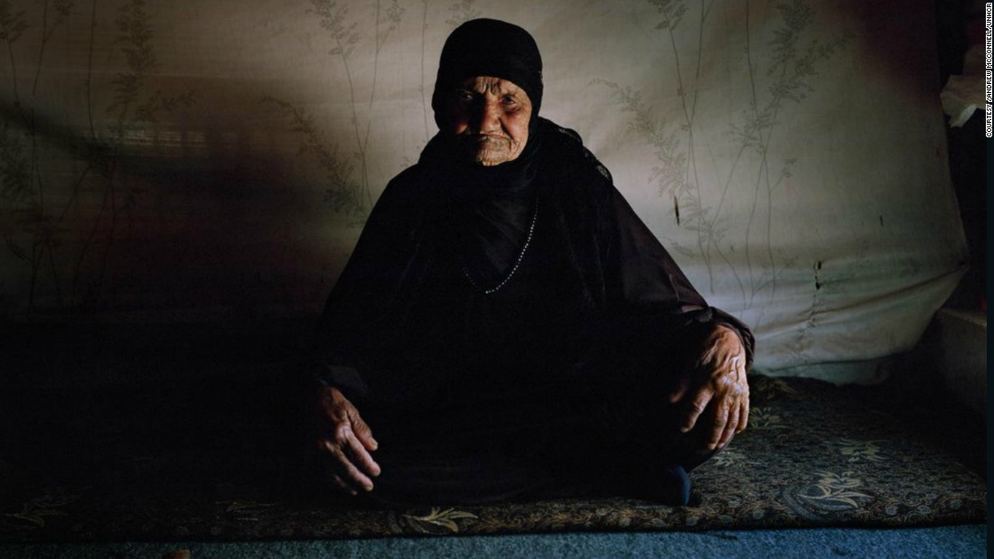 Mental health is an important issue among refugees as people suffer from the loss and trauma of displacement and treatment options remain scarce. Pictured, Khadra Al Halabi, 104, inside her family's shelter at a tented settlement in the Bekaa Valley, Lebanon whose health has deteriorated since being forced to leave her home.