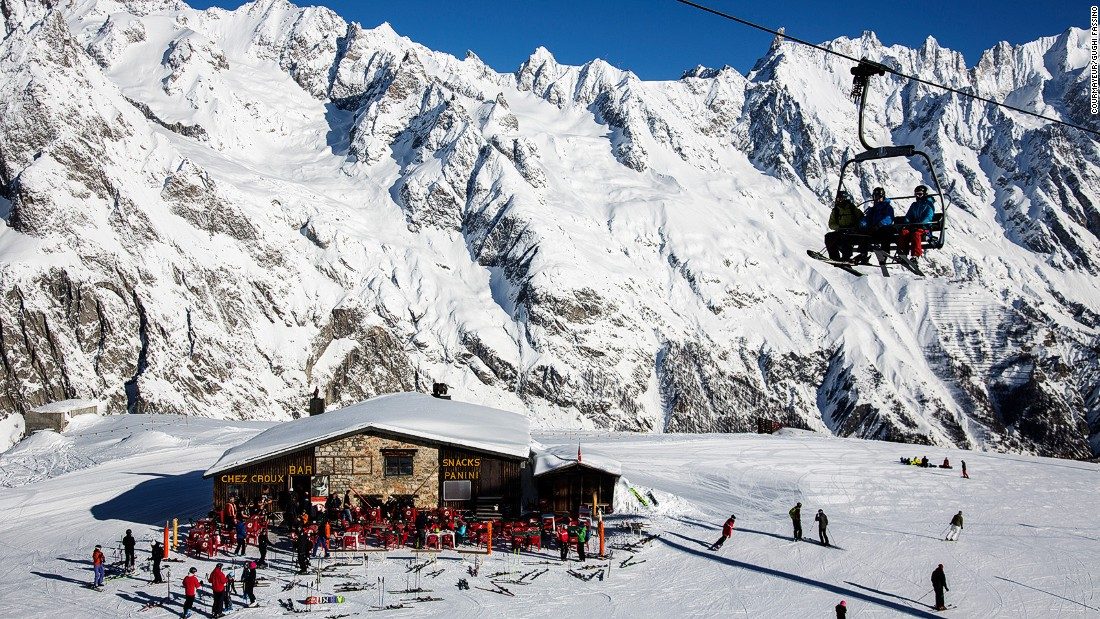 The quaint old town of Courmayeur sits on the Italian side of the Mont Blanc tunnel. The skiing begins from a sunny plateau above the town with stupendous views of more than a dozen of Europe's highest peaks.