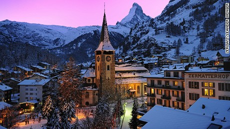 The famed Valais village of Zermatt sits below the iconic Matterhorn peak. The resort is car-free offers upscale boutiques, world-class skiing and a thriving apres-ski scene.