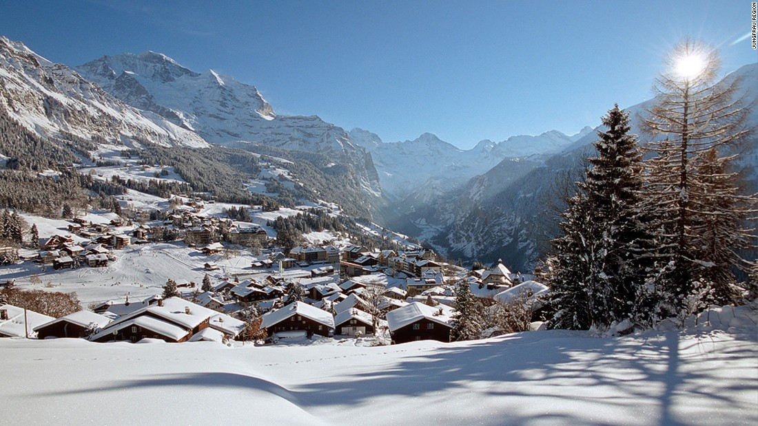 The classy village of Wengen, which can only be reached by cog railway or cable car, gazes out across the deep Lauterbrunnen valley and up towards the famous 4,000-meter peaks of the Eiger, the Monch and the Jungfrau.