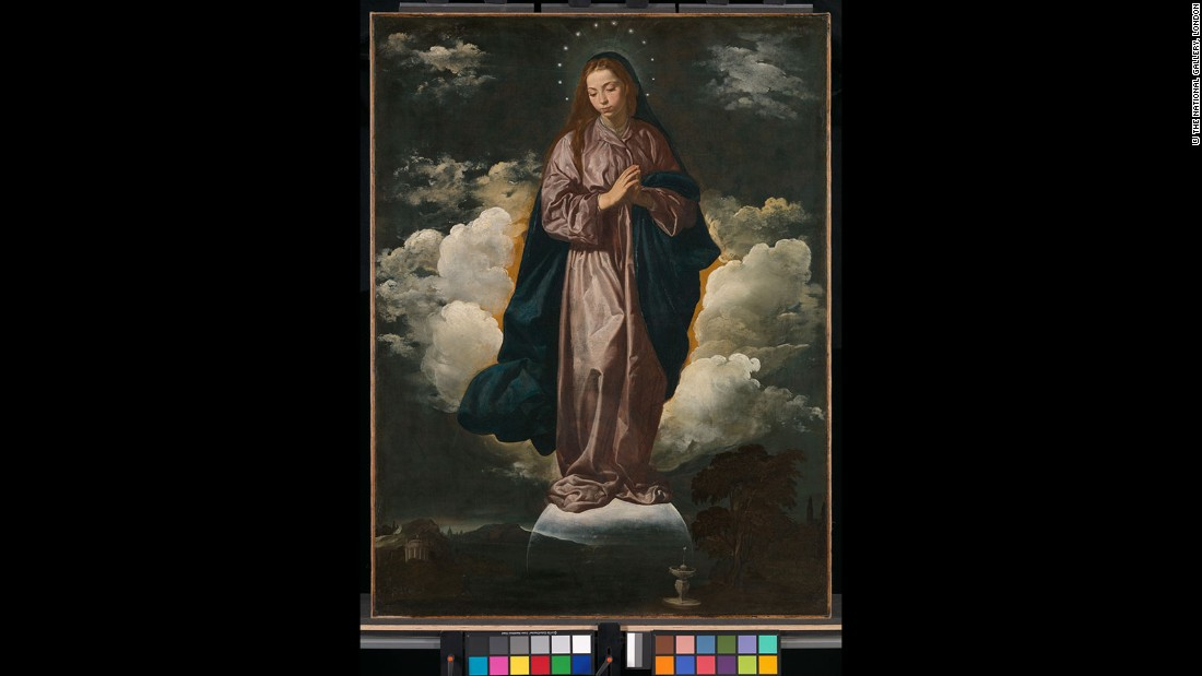 "In this unusual image, Velazquez, who also painted a companion piece entitled St John the Evangelist on the Island of Patmos, depicts the Woman Clothed with the Sun of Revelation 12 as the Virgin Mary, echoing an interpretative trend that had existed since the 5th century. In the foreground is a fountain, perhaps intended to symbolize the ""river of the water of life"" of the New Jerusalem of Rev. 21-22, thus implying that the two paintings taken together were intended as an unusual synthesis of the entirety of the Book of Revelation.<br />"