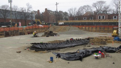 The remains of the ship lie at a hotel construction site in Alexandria, Virginia.