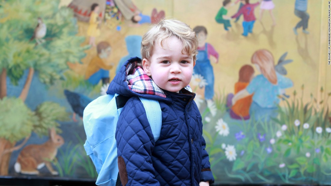 Britain's Prince George poses for a picture taken by his mother Catherine, Duchess of Cambridge, on his first day of nursery school Wednesday, January 6, 2016 in Norfolk, England.