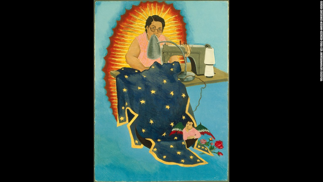 Yolanda Lopez is a Mexican American artist who seeks to challenge the representation of Mexican women in the American media. In her take on the Woman Clothed with the Sun (the image here is part of a series on this theme) the Virgin is represented as Lopez' own mother, depicted at her sewing machine, far from glamorous. But she is a strong, working woman, making her own destiny as she sews the Woman Clothed with the Sun's traditional blue and gold starred cloak. Like the Woman Clothed with the Sun who has been traditionally interpreted in terms of the Virgin Mary or the Church itself, the woman in this image can be seen to represent the bedrock of the Latino community.