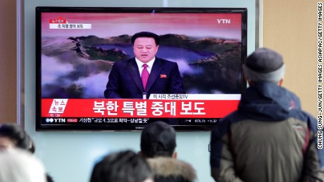 SEOUL, SOUTH KOREA - JANUARY 06:  South Korean watch a television broadcast reporting the North Korea's Hydrogen Bomb Test at the Seoul Railway Station on January 6, 2016 in Seoul, South Korea. North Korea confirmed it has conducted a hydrogen bomb test after South Korea's Metrological Administration detected an 'artificial earthquake' near  Punggye-ri, North Korea's main nuclear testing site on January 6, 2015.  (Photo by Chung Sung-Jun/Getty Images)