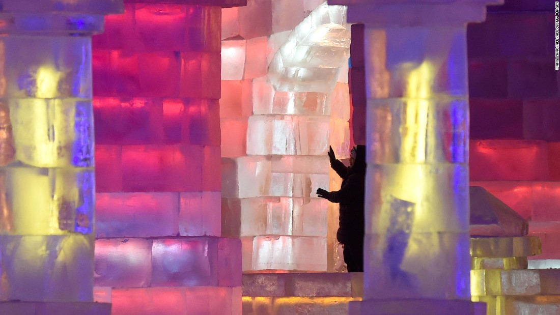 """I bet I could whip up one of these at home."" Many of the blocks used in the sculptures were made with ice taken from Harbin's frozen Songhua River."