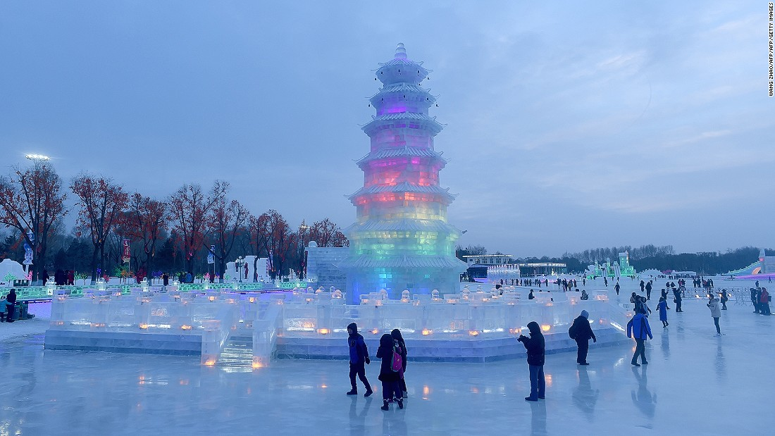The annual event, which runs until the end of February depending on weather conditions, takes place in northeast China's Heilongjiang Province.