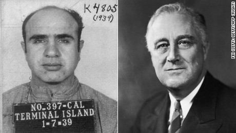A mug shot for Al Capone, left, and President Franklin D. Roosevelt, right