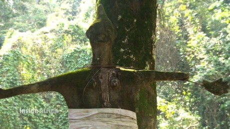 A sculpture from inside Osun Oshogbo Sacred Grove, Nigeria.